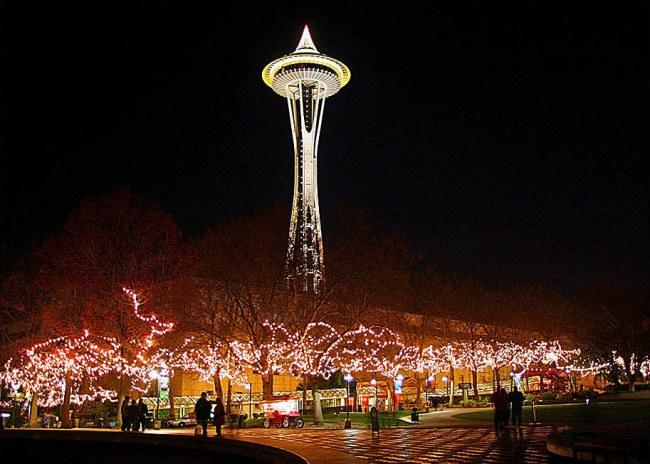 space needle christmas lights
